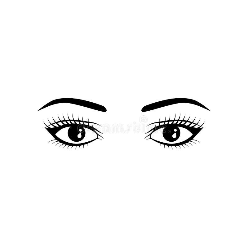 La femme réaliste observe l'illustration noire et blanche de vecteur sur le fond blanc illustration de vecteur