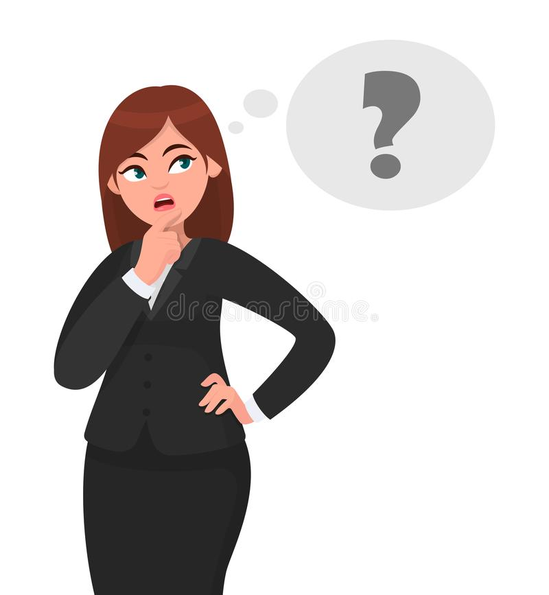 La femme réfléchie d'affaires pense, dans apparaître de point d'interrogation de bulle de pensée illustration stock