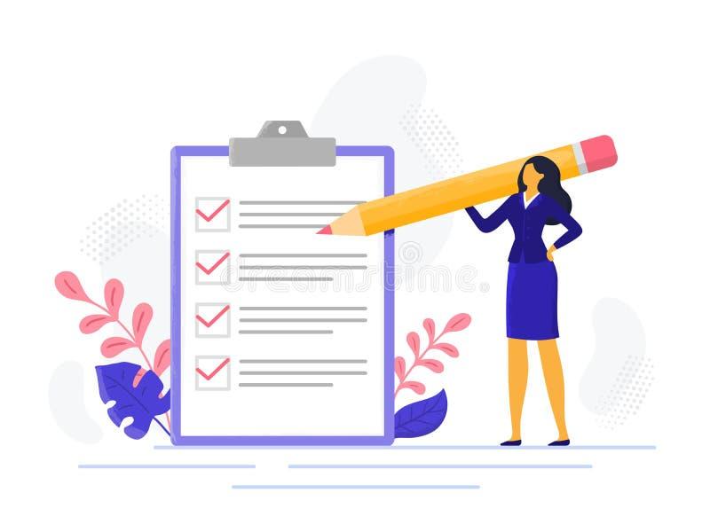 La femme réussie de liste de contrôle de femme d'affaires vérifiant le succès de tâche, a accompli des tâches d'affaires Ve illustration stock