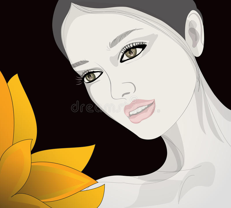 Download La femme regarde la fleur illustration de vecteur. Illustration du exotique - 76080435