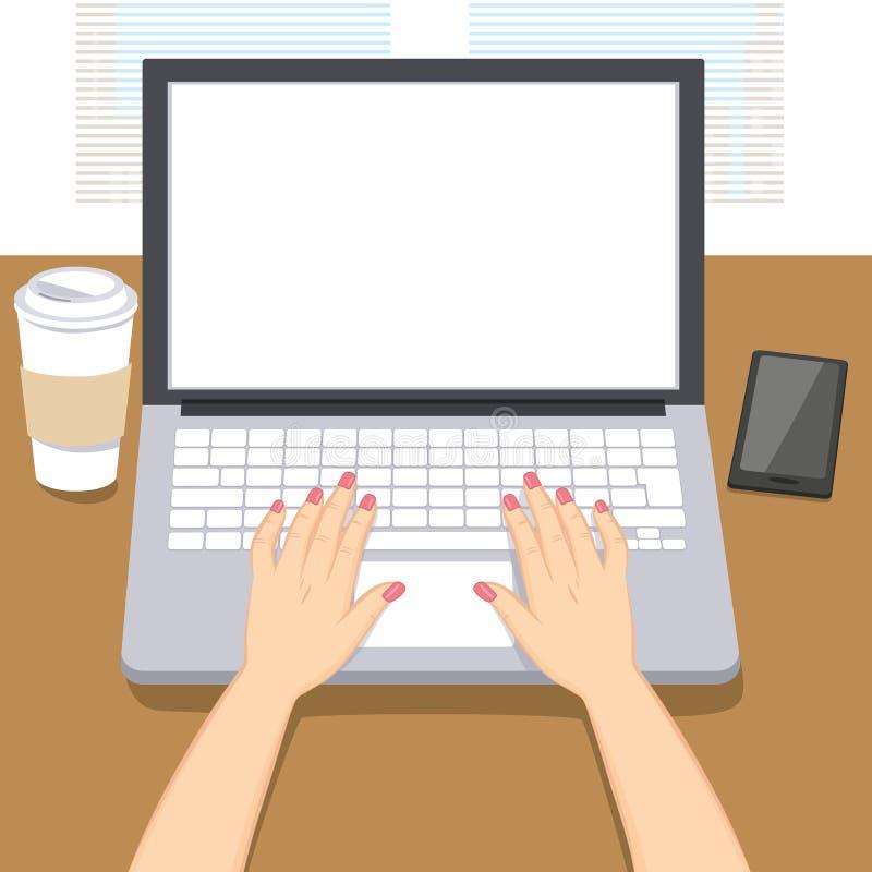 La femme remet l'ordinateur portable d'écriture illustration de vecteur