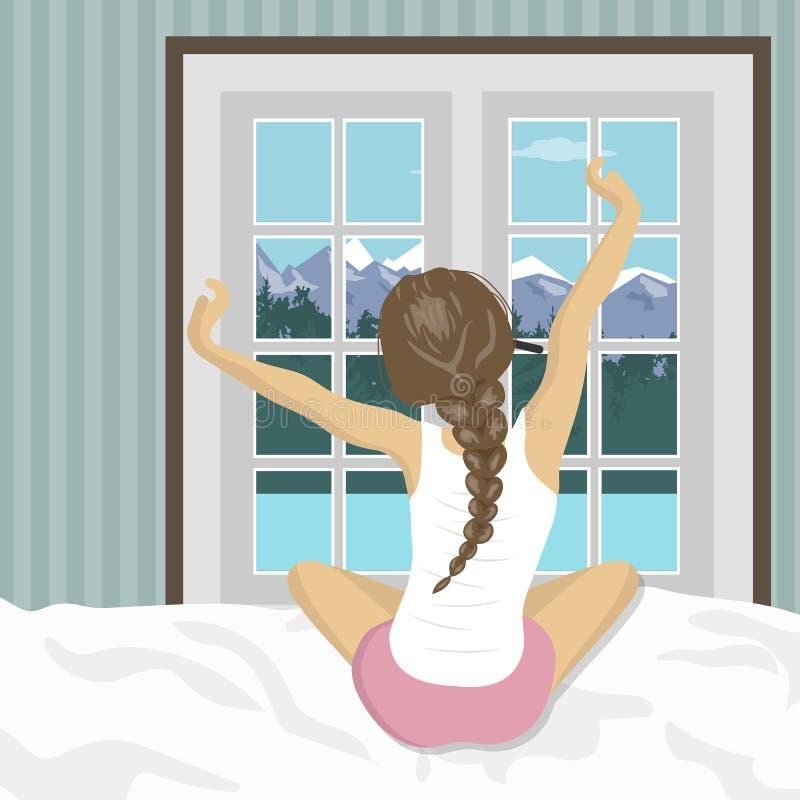 La femme s'étirant dans le lit après se réveillent Concept pour des vacances et des vacances Paysage de montagne d'été illustration stock