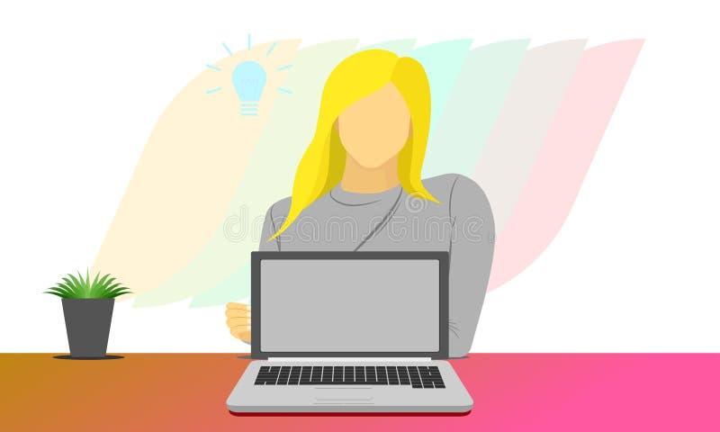 La femme s'asseyent derrière l'ordinateur portable pour le produit de concept ou d'exposition de vente d'affaires de présentation illustration stock