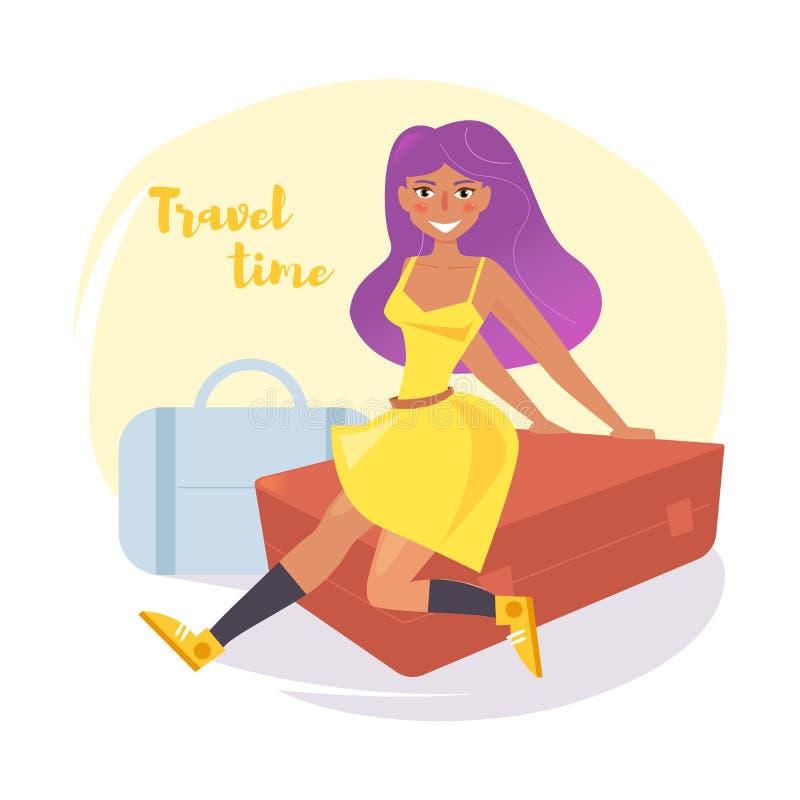 La femme s'asseyent sur la valise Voyage illustration de vecteur