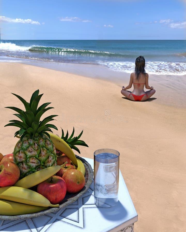 La femme s'assied dans la pose de yoga sur la plage vide avec le fruit dans le premier plan photo stock
