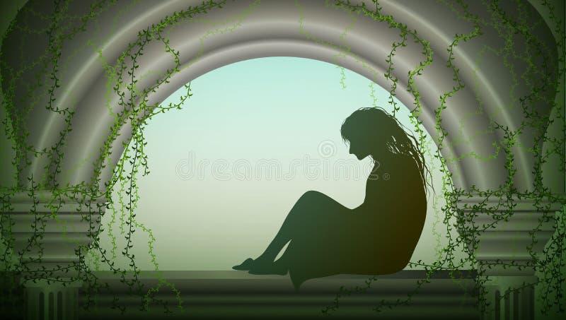 La femme s'assied sur la fenêtre et attend quelqu'un, la fille s'assied sur le grenier démodé avec la colonne et le lierre vert e illustration libre de droits