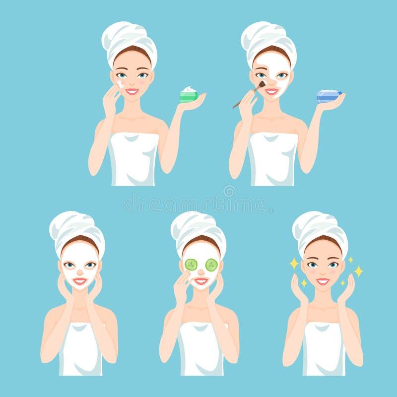 La femme s'inquiète son visage et peau Procédures faciales de traitement illustration libre de droits