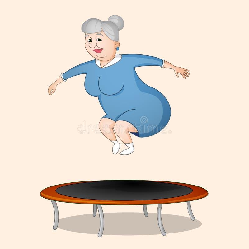 La femme sautant sur le trempoline illustration stock