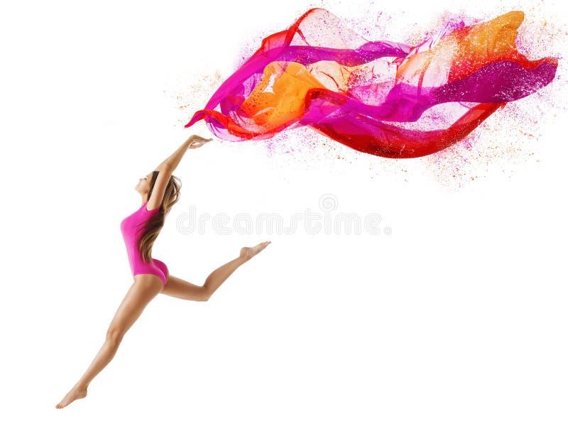 La femme sautent le sport, danseuse de fille, tissu de rose de mouche de gymnaste photo libre de droits