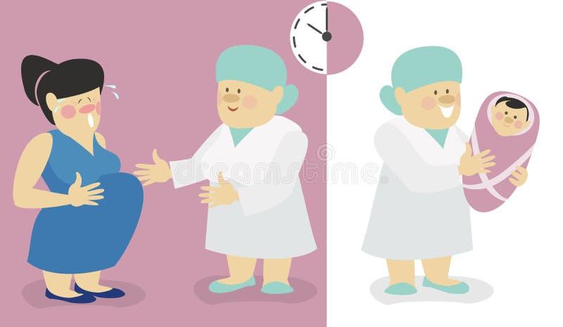 La femme se préparent à l'accouchement, les prises de sage-femme un bébé illustration stock