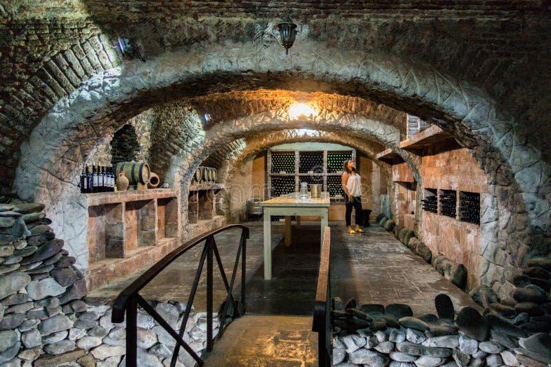 La femme se tient dans la cave historique à Tbilisi photo libre de droits