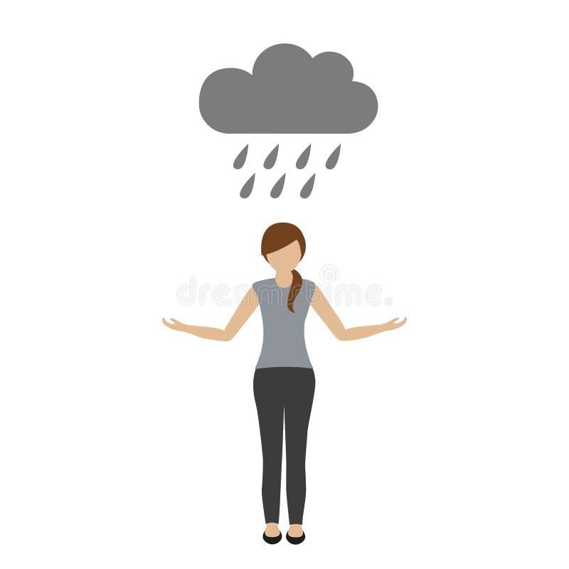 La femme se tient sous la pluie sous un nuage illustration de vecteur