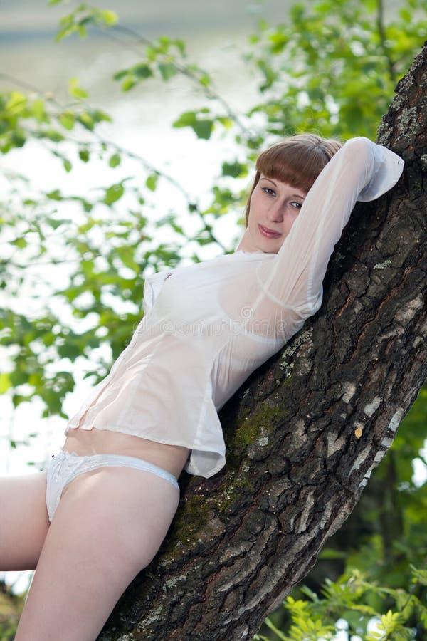 La femme se trouve sur un arbre photo stock