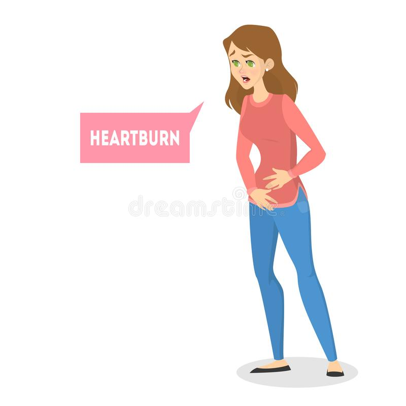 La femme sentent la douleur dans l'estomac Symptôme de Heartburn illustration libre de droits