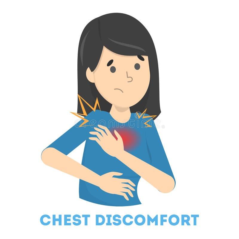 La femme sentent le malaise de coffre Crise cardiaque illustration stock