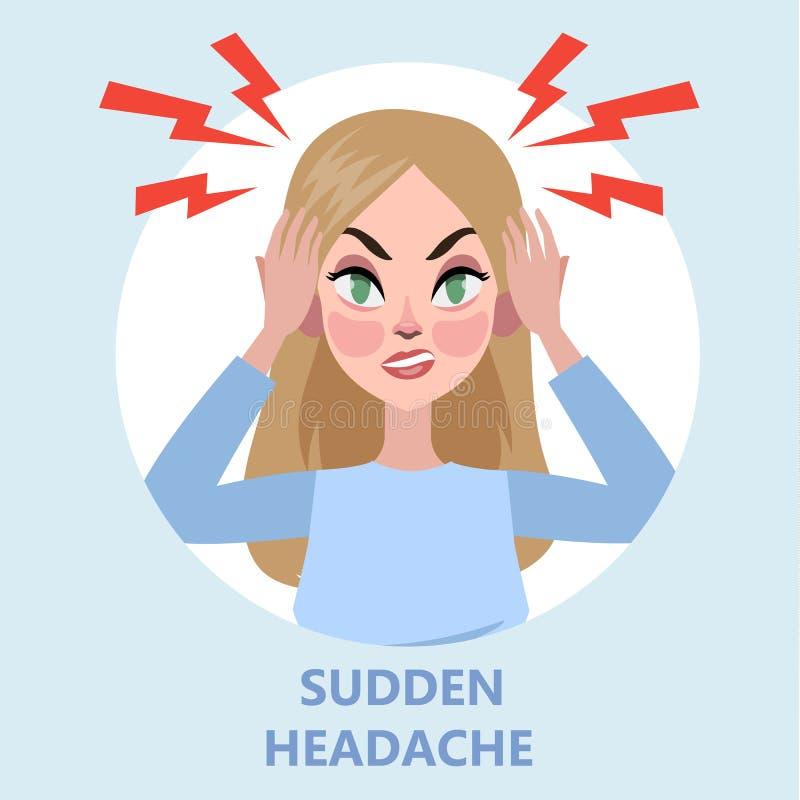 La femme souffrent de la douleur dans la tête Mal de tête illustration stock