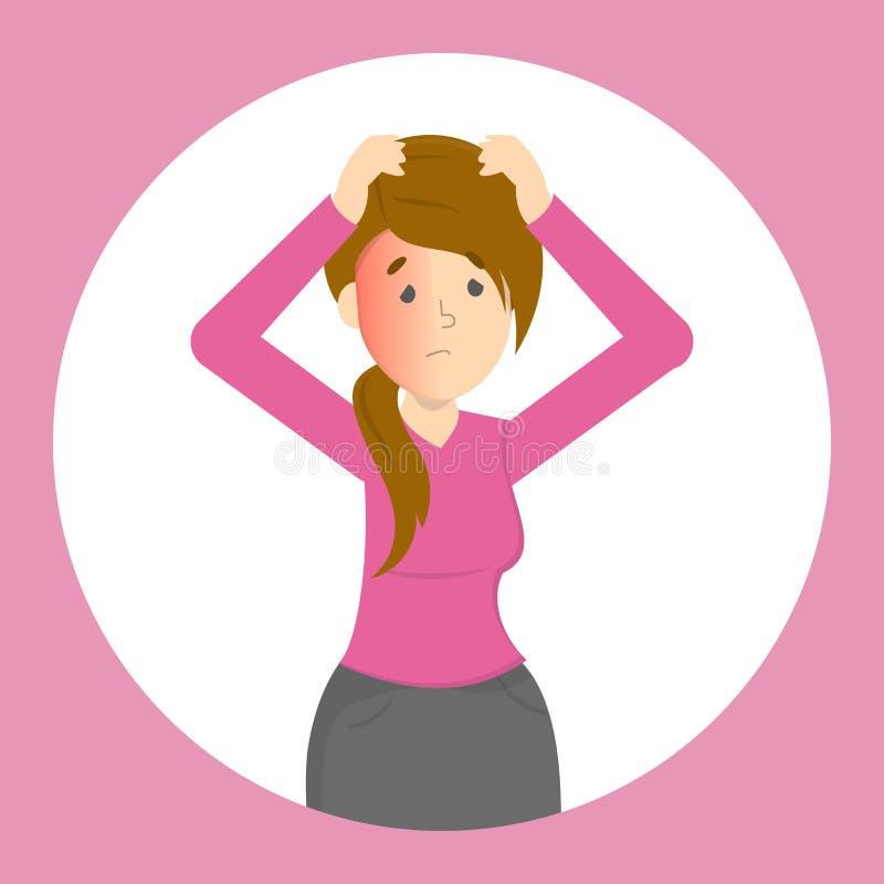 La femme souffrent de la douleur dans la tête Mal de tête illustration de vecteur