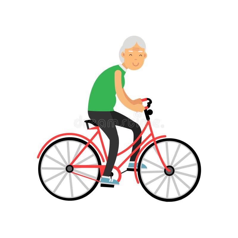 La femme supérieure montant une bicyclette, les loisirs de personnes de retraité et l'activité dirigent l'illustration illustration stock