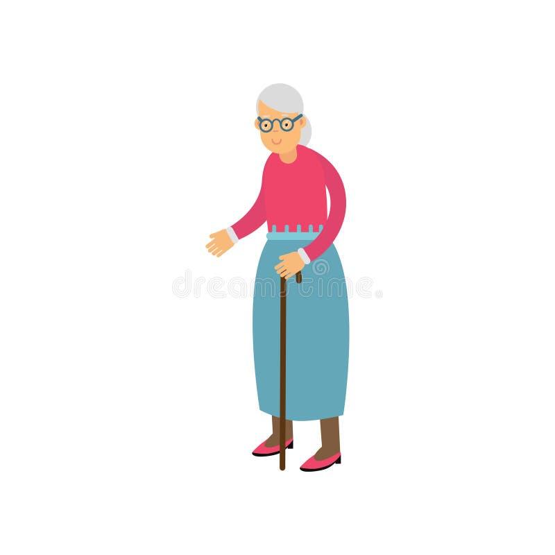 La femme supérieure se tenant avec la canne, les loisirs de personnes de retraité et l'activité dirigent l'illustration illustration libre de droits