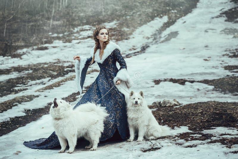 La femme sur la promenade d'hiver avec un chien image stock