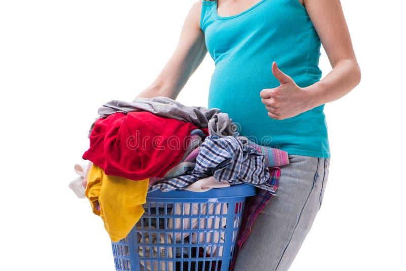 La femme tenant le panier de l'habillement sale exigeant le lavage photo stock