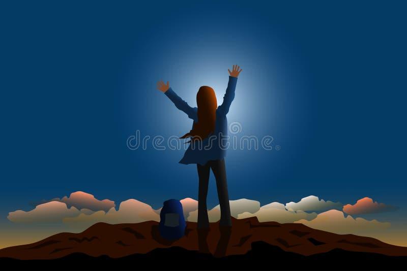la femme a tenu et a montré ses mains sur le dessus de la montagne heureusement avec le fond de lune et de ciel bleu illustration de vecteur