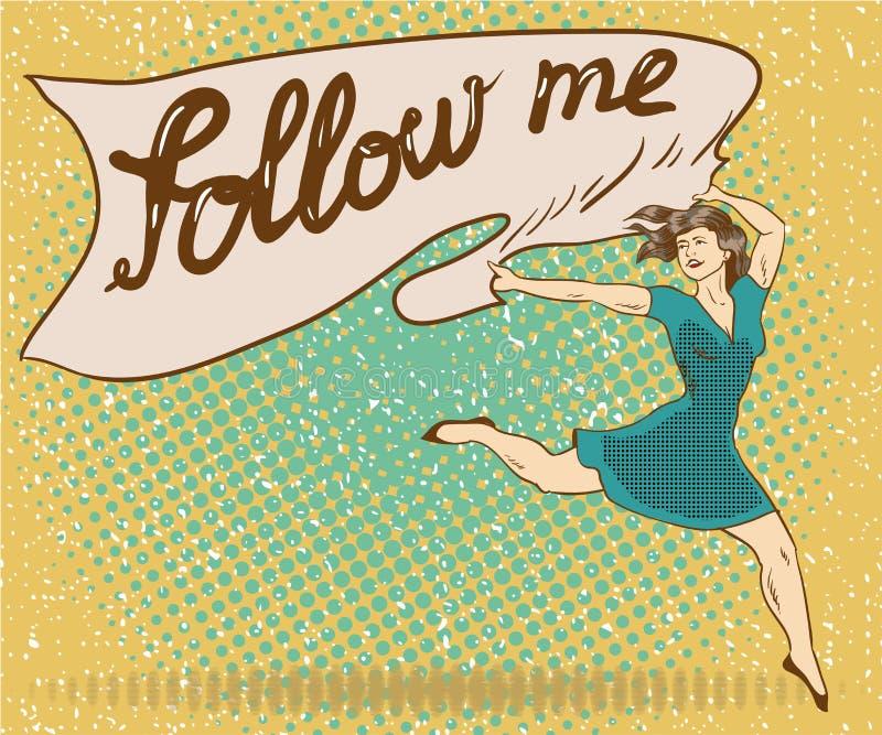 La femme tient la bannière avec me suivent signe Illustration comique de vecteur de style d'art de bruit rétro illustration de vecteur