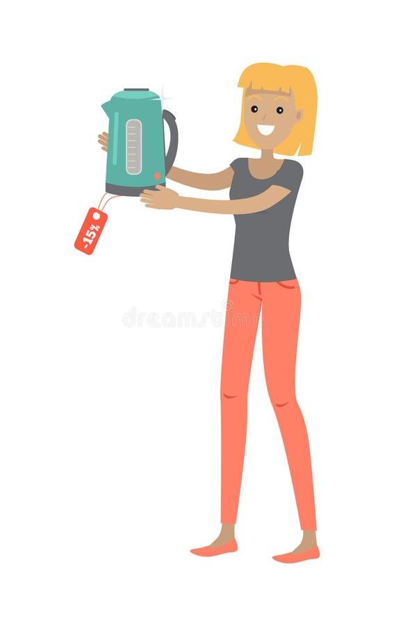 La femme tient la bouilloire électrique de théière avec l'étiquette de vente illustration libre de droits
