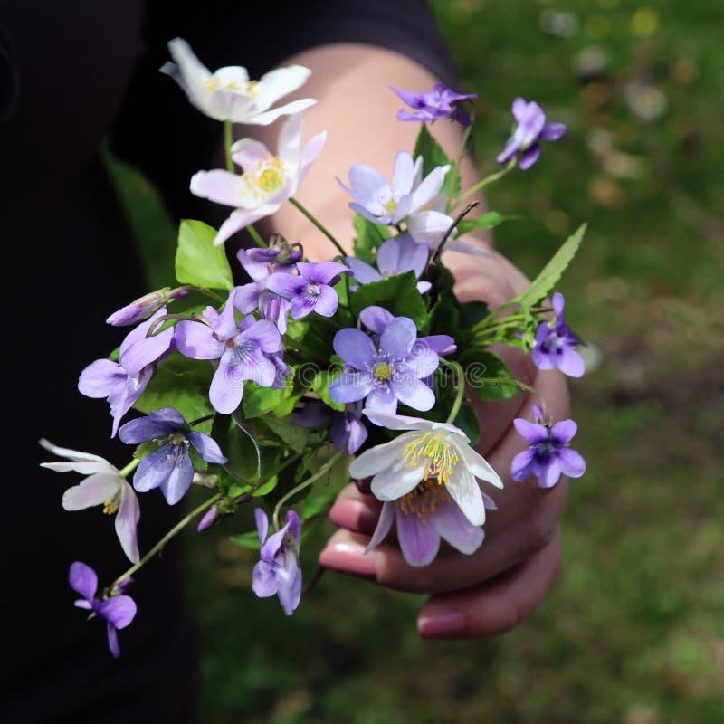 La femme tient un bouquet des wildflowers photographie stock