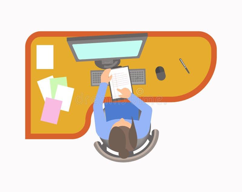 La femme travaille dans le bureau et vérifie des notes à la protection illustration libre de droits