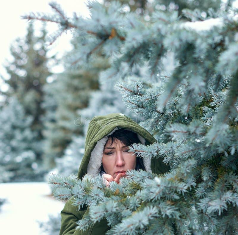 La femme triste touche des branches d'arbre de sapin dans la forêt d'hiver photo stock