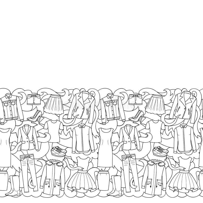 La femme vêtx la frontière sans couture illustration de vecteur