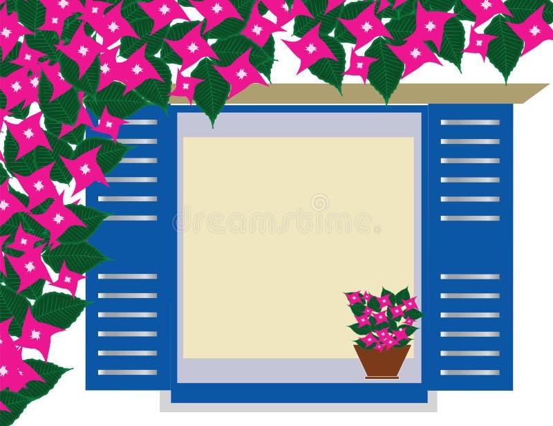 La fenêtre bleue grecque traditionnelle avec la bouganvillée fleurit - Cyclades Grèce illustration libre de droits