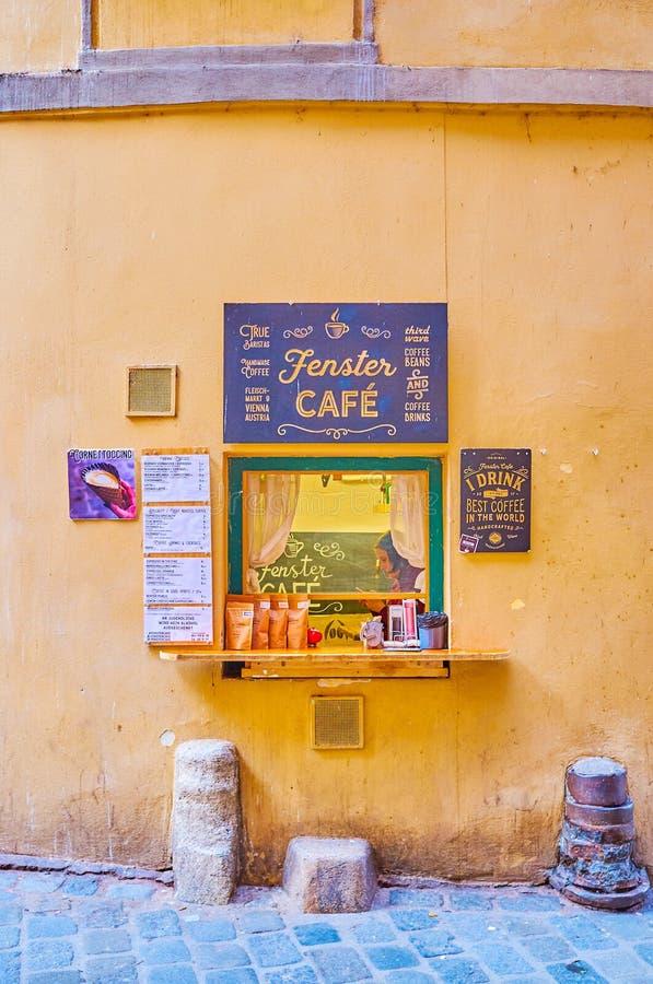 La fenêtre de Fenster Cafe populaire à Vienne, Autriche image stock