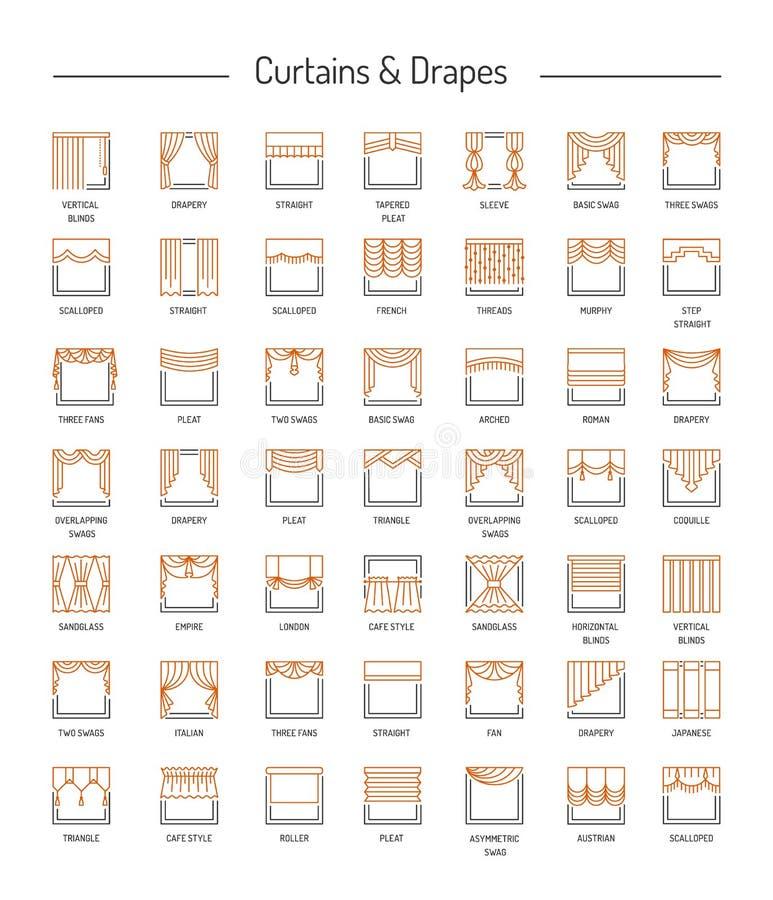 La fenêtre différente drape, des rideaux, abat-jour Lambrequins et ombre illustration stock