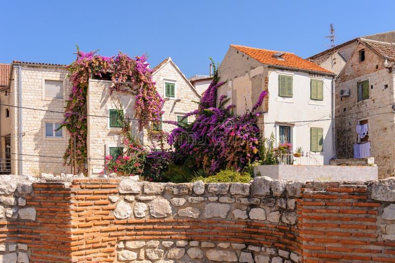 La fente, Croatie loge le jardin images stock