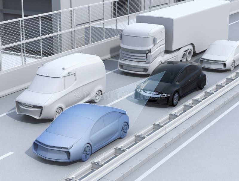 La fermata automatica e va driver di aiuto di funzione di più si rilassa quando essi in ingorgo stradale illustrazione vettoriale