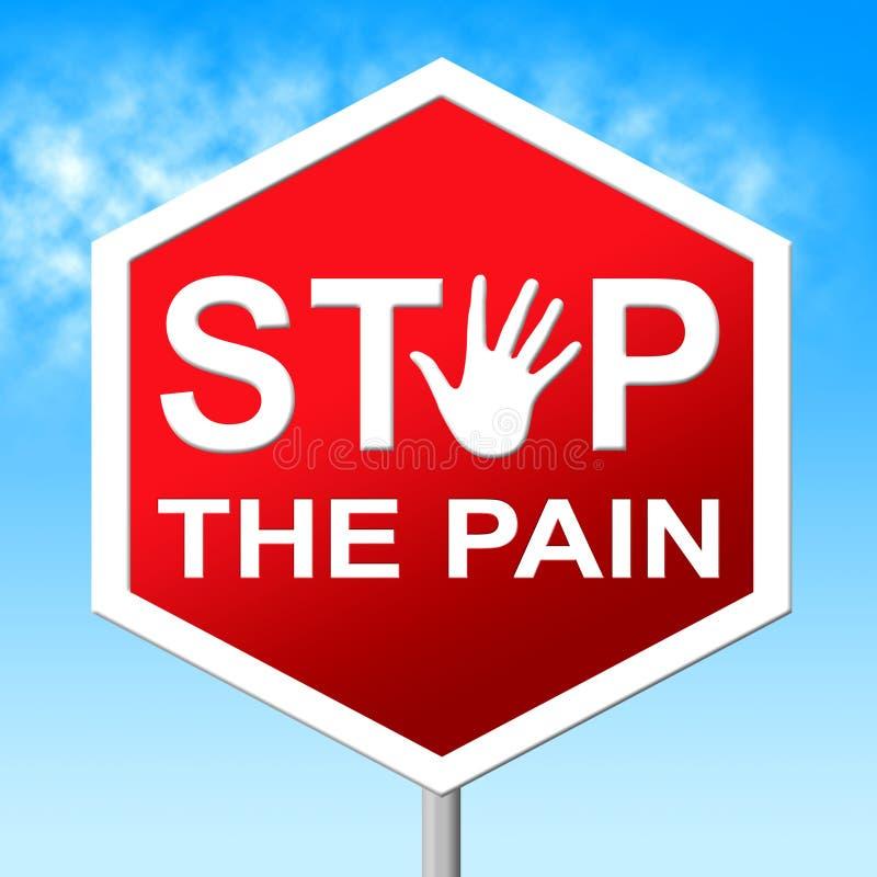 La fermata di dolore significa il segnale di pericolo e l'agonia illustrazione di stock