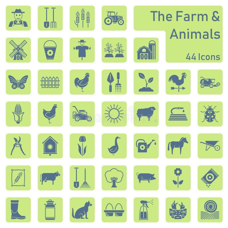 La ferme et l'ensemble d'icône d'animaux illustration stock