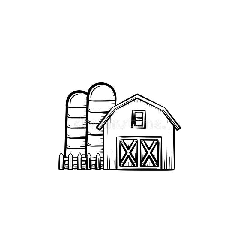 La ferme a jeté l'icône tirée par la main de croquis illustration libre de droits