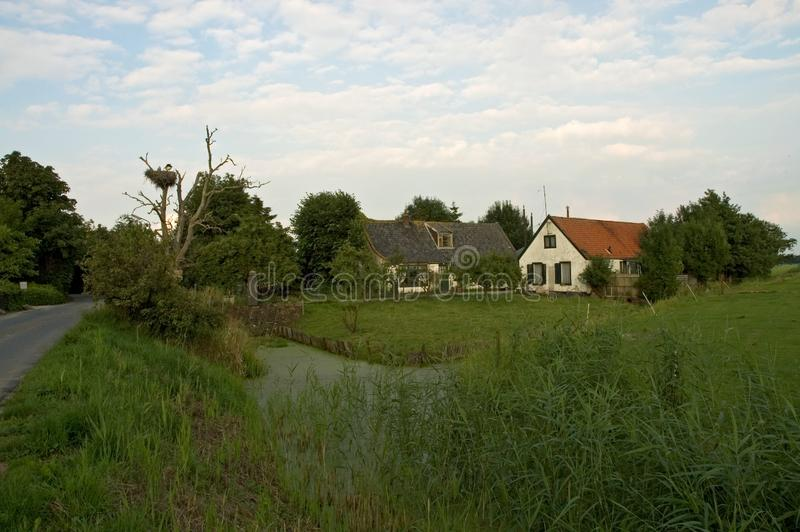 La ferme néerlandaise avec le nid de cigogne blanche, boerderij de Nederlandse a rencontré Ooie photographie stock libre de droits