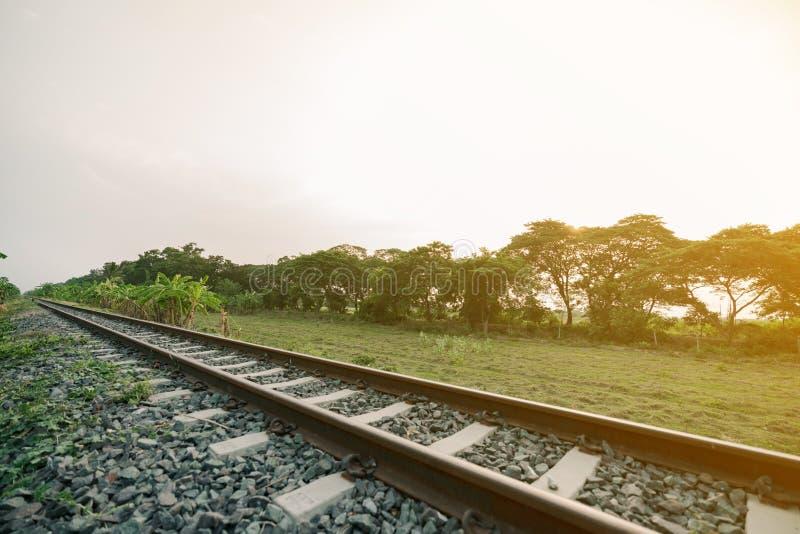 La ferrovia attraverso la campagna di mattina immagini stock libere da diritti