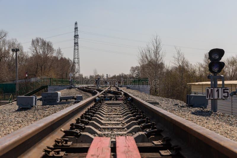 La ferrovia dei bambini vive una vita reale del trasporto in un parco naturale in Russia fotografie stock libere da diritti
