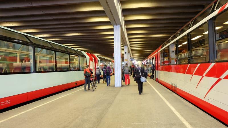 La ferrovia del Cervino Gothard, Svizzera immagine stock