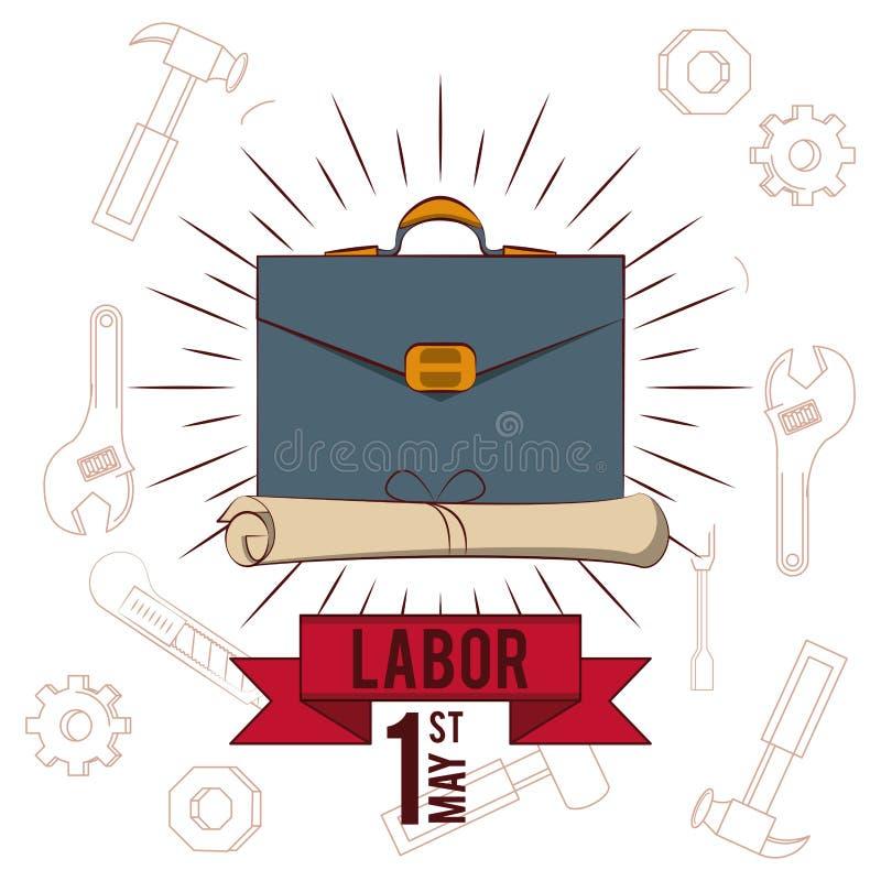 La festa del lavoro può carta undici illustrazione di stock