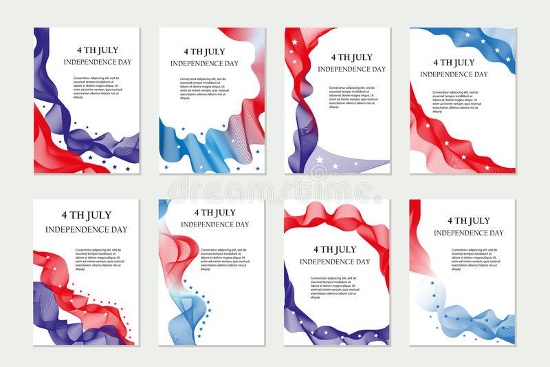 La festa dell'indipendenza del modello dell'America ha messo per gli opuscoli, cartolina, aletta di filatoio, manifesto 4 luglio  royalty illustrazione gratis