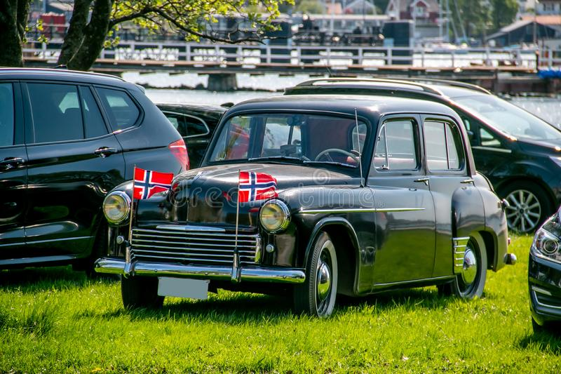 La festa dell'indipendenza norvegese 17 può festa della celebrazione della bandiera del norsk del norge della Norvegia fotografie stock