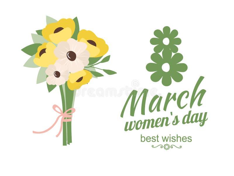 La festa delle donne, auguri con il vettore delle margherite illustrazione di stock