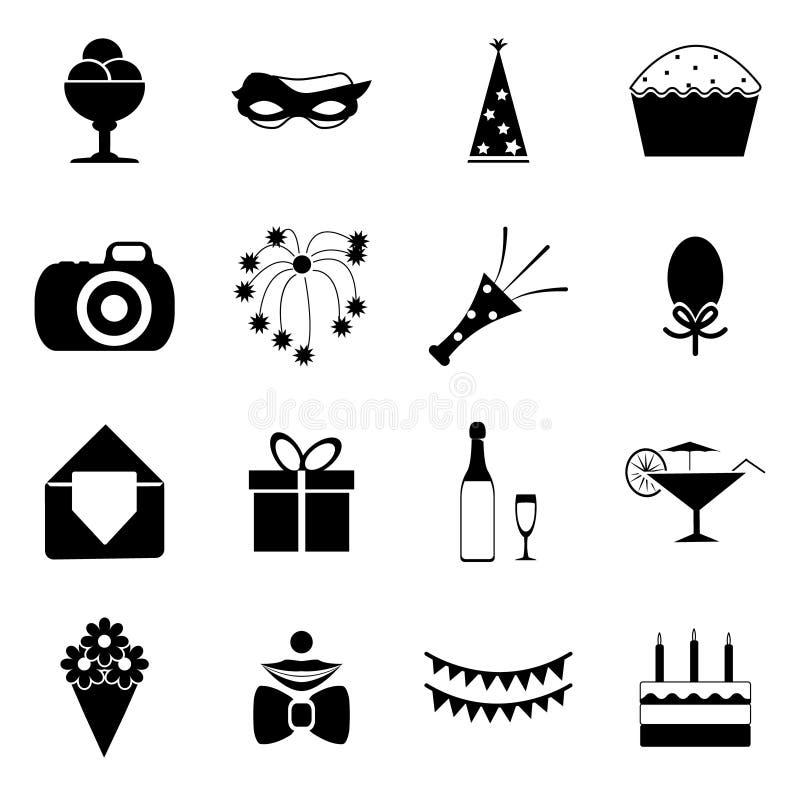 La festa di compleanno celebra l'illustrazione isolata di vettore delle icone della siluetta e dell'insieme di simboli illustrazione di stock