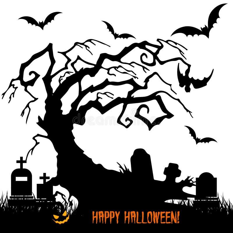 La festa Halloween, profila l'albero spaventoso senza foglie illustrazione vettoriale